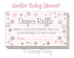 winter pink and gold raffle tickets winter baby shower