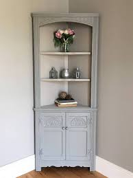 light grey vintage corner hutch with stunning wall paint color for