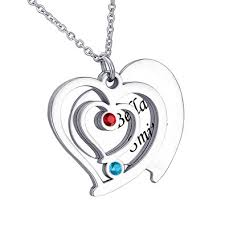 necklace with name and birthstone hooami heart necklace personalized birthstone