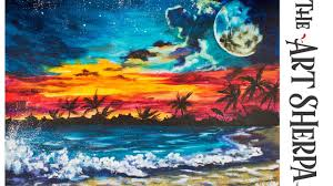 night sky waves and beach acrylic painting landscape tutorial