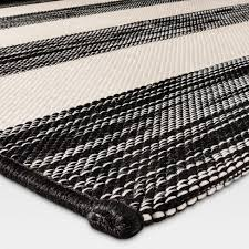 Black And White Outdoor Rug Outdoor Rug Worn Stripe Black White Threshold Target