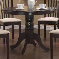 oak wood dining table sears coaster durable solid wood rich cappuccino round single pedestal dining table only