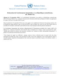 bureau du coordonnateur déclaration du coordonnateur humanitaire a i en république