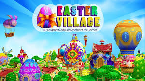 animated 3d cartoon easter village cgtrader