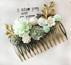 vintage comb green wedding bridal comb gold leaf hair comb for