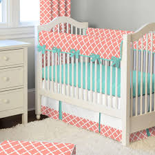 light coral and teal lattice crib bedding carousel designs