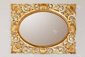 golden mirror frame on the wall stock photo picture and royalty