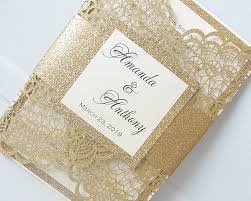 wedding invitations gold doily gold glitter