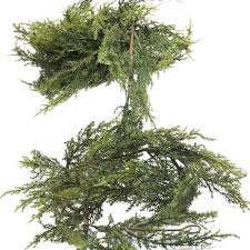 gift realistic artificial vinyl cedar pine green garland