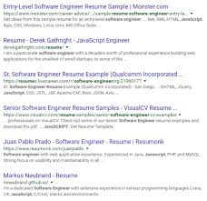 Sample Resume For Software Engineer Experienced by How To Do A Successful Google Resume Search