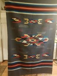Chimayo Rugs Vtg 1930s Chimayo Whirling Log Thunderbird Red Wool Rug Blanket