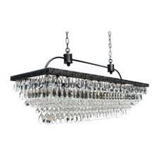 Chandelier With Black Shade And Crystal Drops Rectangular Chandeliers Houzz