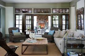 French Industrial Coffee With Wood Trim Family Room Traditional - Chairs for family room