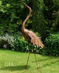 proud large heron pelican flamingo styled metal bird garden