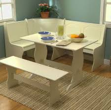 decorations chic round white breakfast nook table decor with