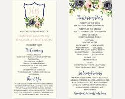 wedding program format floral program etsy