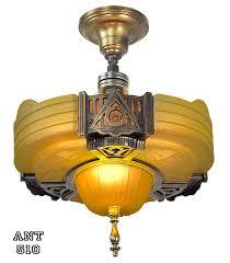 Semi Flush Mount Ceiling Light Vintage Hardware U0026 Lighting Art Deco Streamline Slip Shade Semi