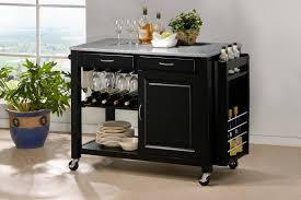 Black Kitchen Island With Stainless Steel Top Kitchen Carts Small Kitchen Island With Cabinets And Seating