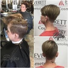 women haircut tapered neck behind ear women s haircut by using 3 guard on sides and back medium taper