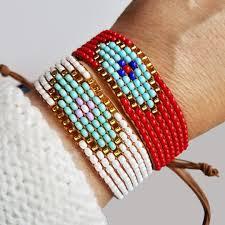 red bracelet with eye images Beaded evil eye bracelet alef bet jewelry by paula jpg