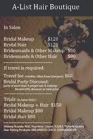 make up prices for wedding list for wedding hair and makeup mugeek vidalondon