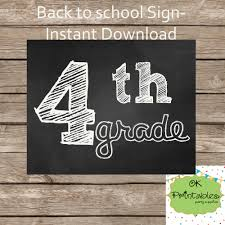 4th grade chalkboard sign teacher class by okprintables on zibbet