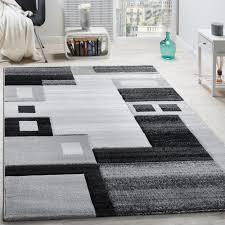 designer teppich designer teppich edel konturenschnitt kariert grau schwarz meliert