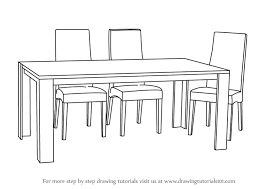 Dining Room Chairs Furniture Learn How To Draw Dining Table With Chairs Furniture Step By