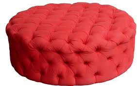 Red Ottoman Custom Tufted 48