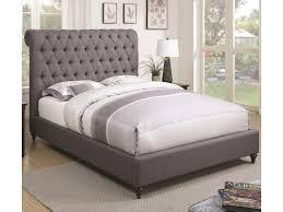 Beige Upholstered Bed Coaster Devon Queen Upholstered Bed In Grey Fabric Dunk U0026 Bright