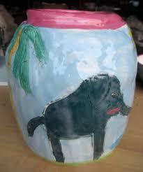 elephant vase ceramic green blue bird plate zion art