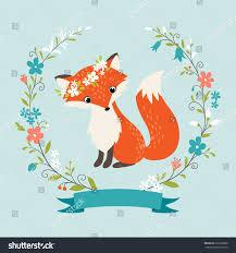 fox ribbon summer fox flower wreath ribbon stock vector 276726800