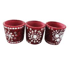 Beaded Home Decor Handcrafted Candle Set Decorative Beaded Glass Lac Material Red