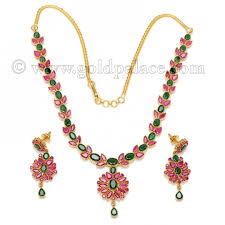 emerald gold necklace images Necklace earrings with ruby emerald gold palace jewelers inc jpg