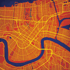 Map New Orleans New Orleans Louisiana Map Art City Prints