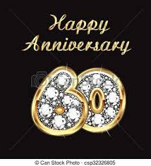 60 years anniversary 60 years anniversary birthday in gold and diamonds vector clipart