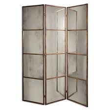 Retractable Room Divider Mirrored Room Dividers Three Panel Art Deco Style Screen Or
