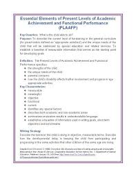essential elements of present levels of academic achievement and