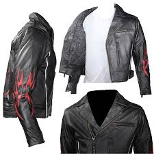 black motorcycle jacket mens black traditional style motorcycle jacket with red flame inserts