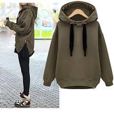 khaki sweatshirt zip features at side black drawstring