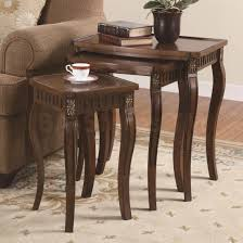 3 piece curved leg nesting table set in brown coffee tables coa