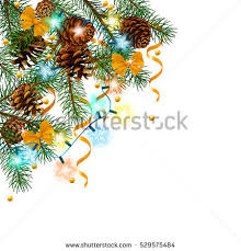 Christmas Decorations With Pine Tree Branches by Vector Illustration Pine Tree Branch New Stock Vector 516721822