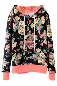 abaday abaday floral print hooded drawstrings black hoodie the