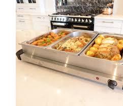 food warmer buffet server plate 3 tray adjustable temperature