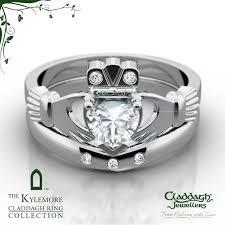 galway ring kylemore platinum 3 diamond wedding set