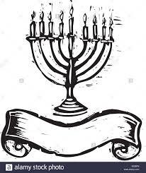 simple menorah simple woodcut image of a menorah with scroll banner stock