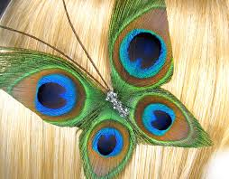 peacock feathers hair bows butterfly bridesmaid wedding bridal hair