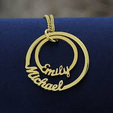Necklace With Kids Names Wholesale Gold Color Personalized Two Circle Names Necklace Family
