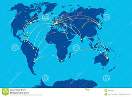 Map Of Globe Mobile Connection On Map Of World Stock Photography Image 35510392