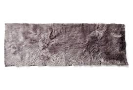 Fur Runner Rug Australian Sheep Faux Fur Running Rug In Silver Tourance